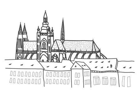 プラハ城の複合体のイラスト  イラスト・ベクター素材