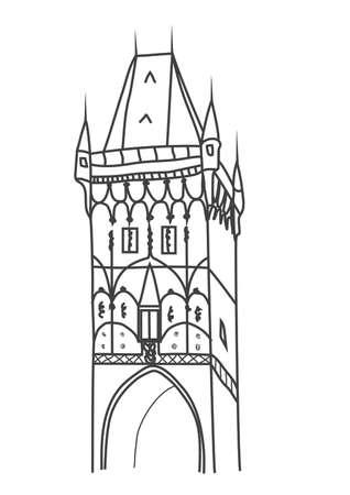 火薬塔プラハのイラスト  イラスト・ベクター素材