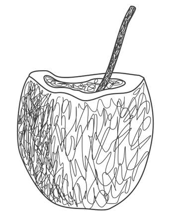 ココナッツの飲み物をストローでの簡単な描画