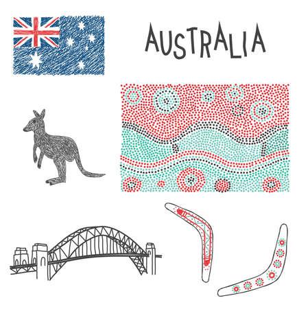 アボリジニのパターンを持つオーストラリアの典型的な記号  イラスト・ベクター素材