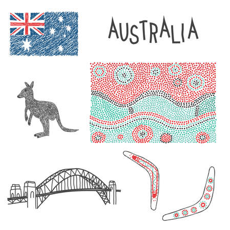 typical: Australian typical symbols with aboriginal pattern