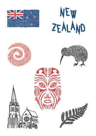 ニュージーランドの典型的な記号  イラスト・ベクター素材