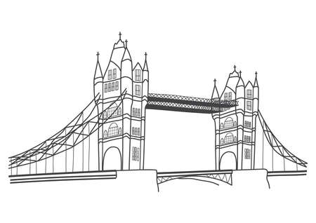 vector illustration of London Tower Bridge, front view