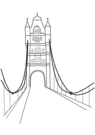ロンドン タワー ブリッジ、正面図のベクトル図  イラスト・ベクター素材