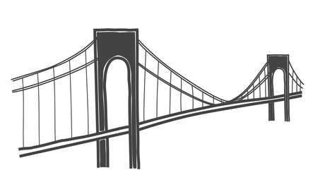 vector illustration of Verrazano-Narrows bridge, new york Ilustração