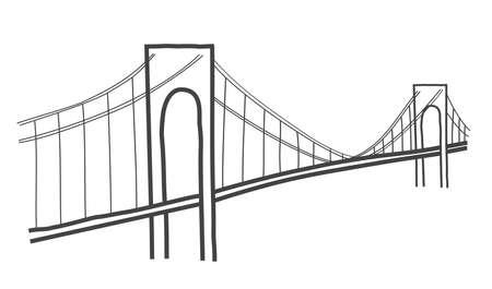 ヴェラザノ ・ ナローズ ・ ブリッジ、ニューヨークのベクトル イラスト
