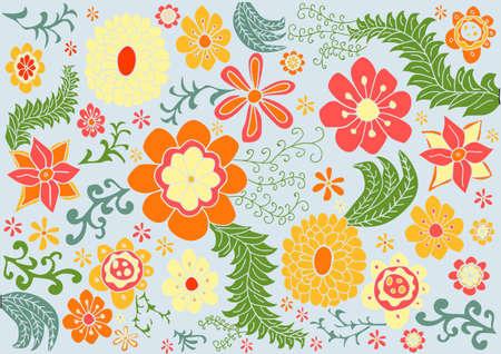 Vector floral retro color pattern Ilustracja
