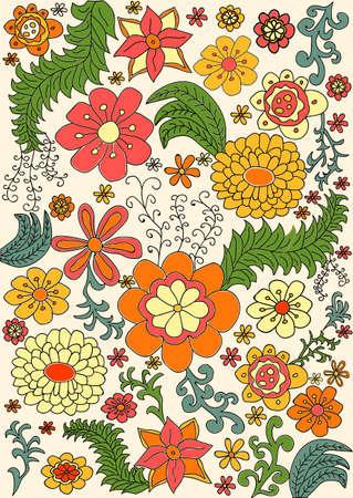 花柄のレトロな色パターン ベクトル