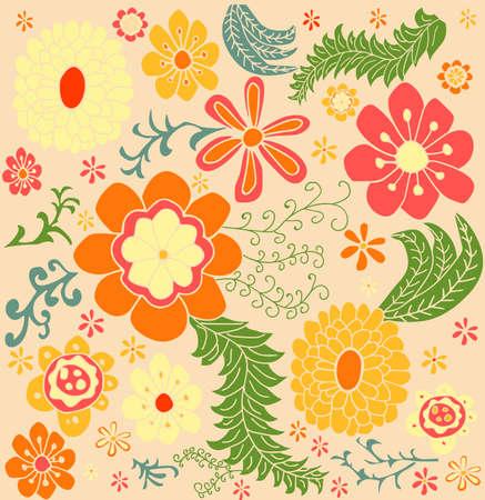 レトロな花柄の色パターン