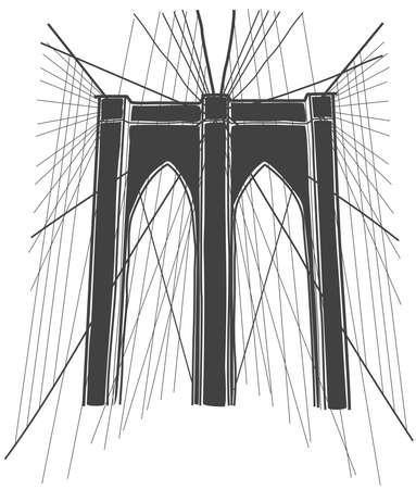 ブルックリン ブリッジ、ニューヨークのイラスト