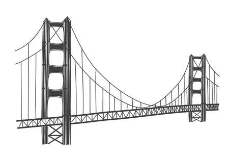vector illustration of Golden Gate bridge, San Francisco