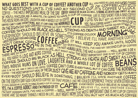 typographic vector background with sayings about coffee Illusztráció