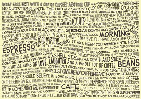 コーヒーについての諺とタイポグラフィのベクトルの背景