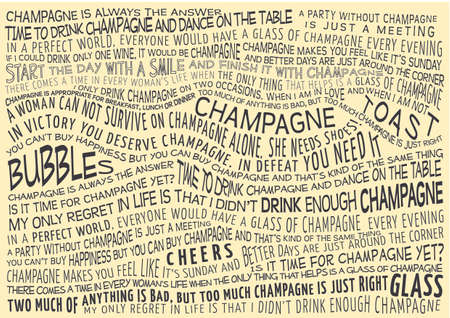 sayings: typographic vector background with sayings about champagne