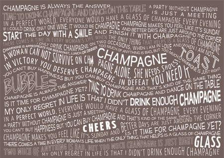 シャンパンについての諺とタイポグラフィのベクトルの背景