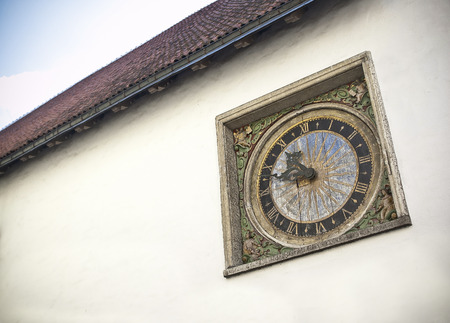 Ancient Clock on Building in Tallinn Estonia