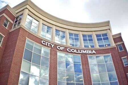 Columbia, Missouri / USA - June 21 2018: Exterior of Columbia Missouri City Hall