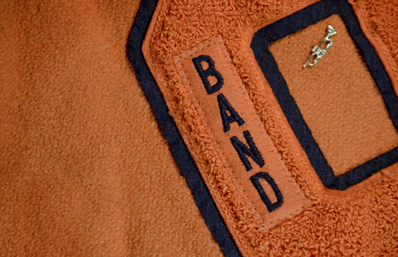 Band Award Patch Sewn on High School Letter Jacket with Trumpet Pin