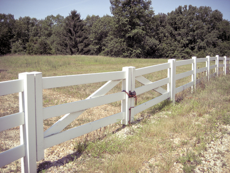 White Fence Bordering a Country Pasture with Trees 版權商用圖片 - 122470792