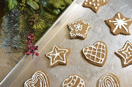 Gingerbread Christmas Cookies on Pan with Greenery