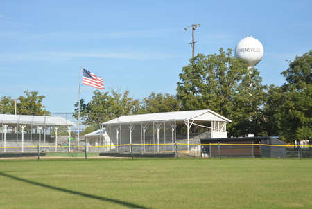 Owensville, Missouri USA - Memorial Park Ballfield with Water Tower