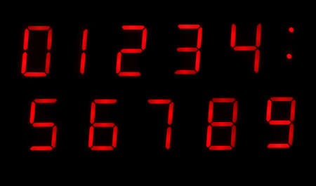Red Digital Clock Numbers 0-9 on a Black Background