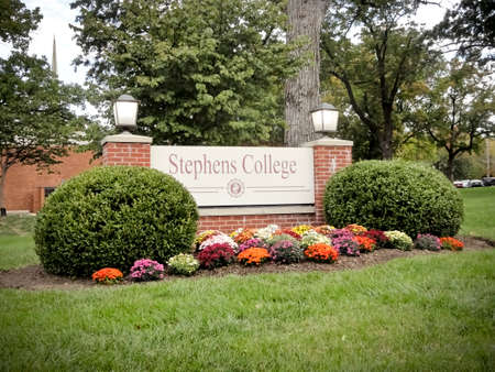 Columbia, Missouri / USA - October 23 2019: Stephens College Entrance Sign