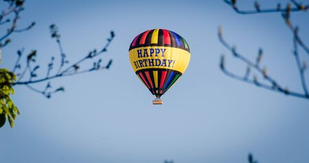 air baloon: Happy birthday on hot air balloon