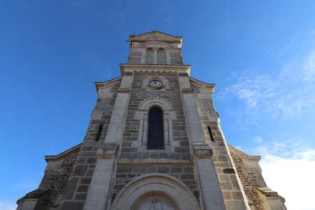 Saint Jean Baptiste Catholic church in Saint Jean de Touslas, exterior view, town of Beauvallon, Rhône department, France