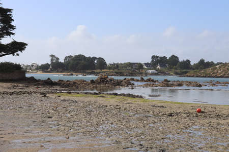 The ria d'etel, coastal river in a river valley invaded by the sea, town of Plouhinec, department of Morbihan, Brittany, France Banque d'images