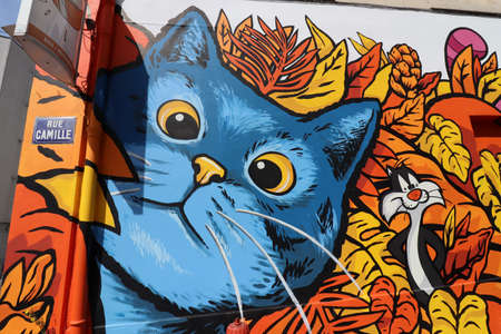 Mural, fresco representing cats in the district of Montchat, city of Lyon, department of Rhône, France