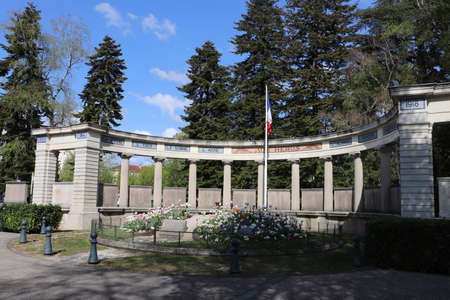 War memorial in hemicycle place de la Chevallerie, by architect Augustin Bidot, town of Lons le Saunier, Jura department, France