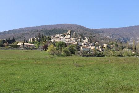 Overview of the village, village Le Poet Laval, department of Drome, France Stock Photo