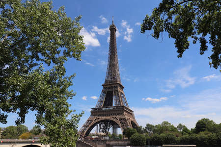 The Eiffel Tower, 324 meter high metal tower built in 1889, exterior view, city of Paris, France