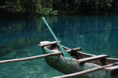 outrigger: Vanuatu - Outrigger canoe in Blue Hole