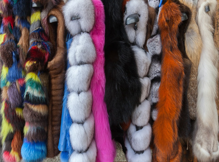 Multicolored Fur Coats on Display, Dyed Faux Fur Coats