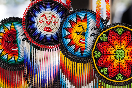 Handmade colorful beads pendant necklaceshandmade jewelry Stock Photo