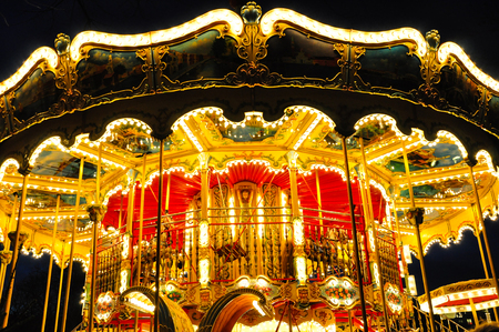 Carousel with bright lights and vibrant colors in Copenhagen, Denmark