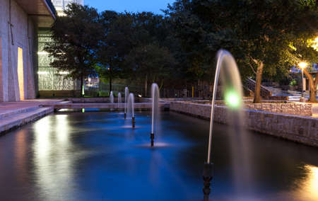 City fountain Fountain in park Urban fountain Smooth water flowing Stock Photo