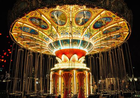Empty chain carouselcolorful illuminated chain carousel
