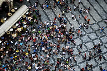 PRAGUE July 21, 2009 - Aerial photograph of people visiting the Old Town Square