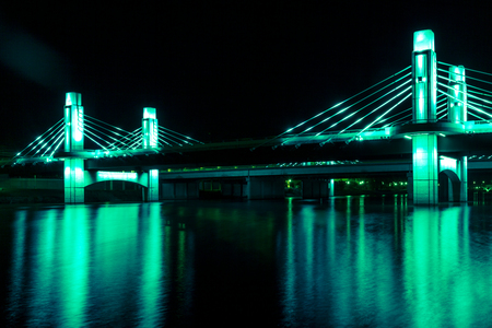 Bridge over Brazos River illuminated by LED in Waco, Texas / Light painted bridge