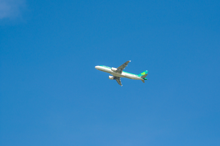 LONDON, HEATHROW AIRPORT - AUGUST 28, 2017 - Aer Lingus aircraft in mid air soon after take off