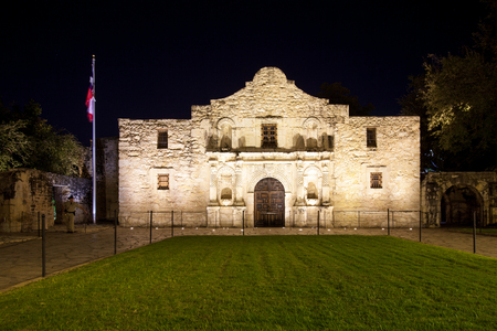 SAN ANTONIO, TEXAS - NOVEMBER 27, 2017 - Front view of the Alamo. The Alamo was founded in the 18th century as a Roman Catholic mission and fortress compound, and today is part of the San Antonio Missions World Heritage Site in San Antonio, Texas.