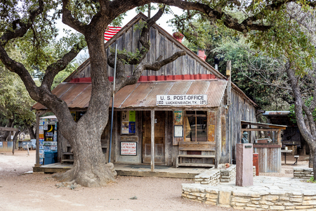 LUCKENBACH, TX - JANUARY 11, 2018 -  The oldest building in town serving as a combination post office, general store, souvenir shop  and saloon.