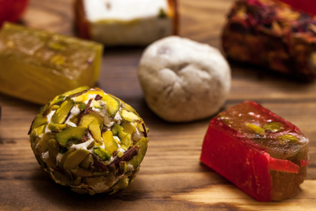Selection of middle eastern desserts with pistachio and turkish delight 스톡 콘텐츠