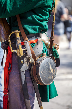 Close up of man dressed up as soldier for the anniversary of the Battle of the Alamo