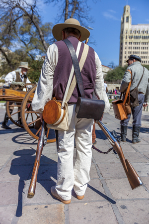 Men dressed up as soldiers for the anniversary of the Battle of the Alamo