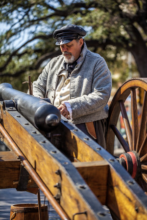SAN ANTONIO, TEXAS - MARCH 2, 2018 - Man dressed as 19th century soldier participates in the reenactment of the Battle of the Alamo, which took place between February 23 and March 6, 1836