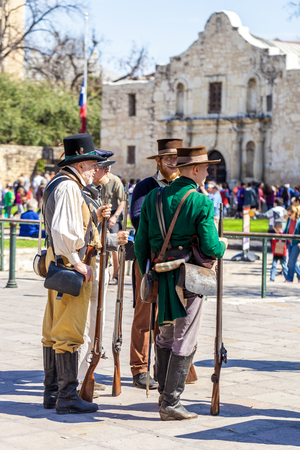 SAN ANTONIO, TEXAS - MARCH 2, 2018 - Men dressed as 19th century soldiers participate in the reenactment of the Battle of the Alamo, which took place between February 23 and March 6, 1836 Sajtókép
